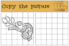 Children games: Copy the picture. Little cute chameleon. Royalty Free Stock Images