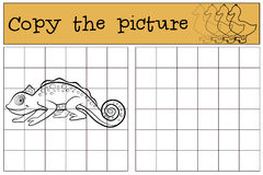 Children games: Copy the picture. Little cute chameleon. Stock Image