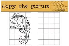 Children games: Copy the picture. Little cute chameleon. Stock Photo