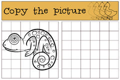 Children games: Copy the picture. Little cute chameleon. Royalty Free Stock Photo
