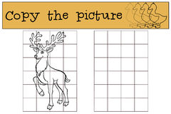 Children games: Copy the picture. Little cute deer. Royalty Free Stock Image