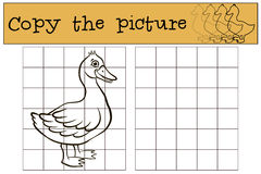 Children games: Copy the picture. Little cute duck. Royalty Free Stock Photography