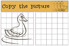Children games: Copy the picture. Little cute duck. Stock Photography