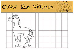 Children games: Copy the picture. Little cute foal. Stock Image
