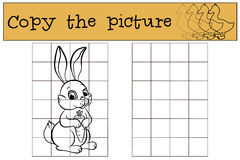 Children games: Copy the picture. Little cute hare. Royalty Free Stock Image
