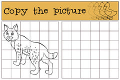 Children games: Copy the picture. Little cute lynx . royalty free illustration