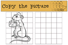 Children games: Copy the picture. Little cute mouse. Stock Photos