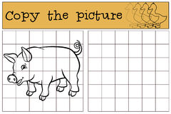 Children games: Copy the picture. Little cute pig. Stock Image