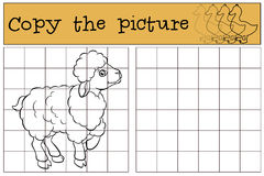 Children games: Copy the picture. Little cute sheep. Royalty Free Stock Image