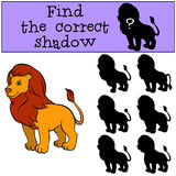 Children games: Find the correct shadow. Cute beautiful. Children games: Find the correct shadow. Cute beautiful lion stands and smiles Royalty Free Stock Photography