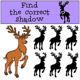 Children games: Find the correct shadow. Cute deer. Children games: Find the correct shadow. Cute deer stands and smiles Royalty Free Stock Photography
