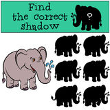 Children games: Find the correct shadow. Cute elephaht. Children games: Find the correct shadow. Cute elephaht stands and smiles Stock Image