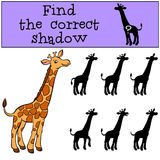 Children games: Find the correct shadow. Cute giraffe. Stock Images