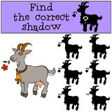 Children games: Find the correct shadow. Cute goat. Children games: Find the correct shadow. Cute goat holds a flower in the mouth Stock Photo