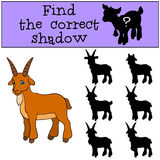 Children games: Find the correct shadow. Cute goat smiles. Children games: Find the correct shadow. Cute goat stands and smiles Royalty Free Stock Image