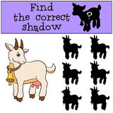 Children games: Find the correct shadow. Cute goat smiles. Children games: Find the correct shadow. Cute goat stands and smiles Stock Photo
