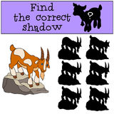 Children games: Find the correct shadow. Cute goat. Children games: Find the correct shadow. Cute goat stands on the rock and smiles Stock Images