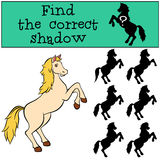 Children games: Find the correct shadow. Cute horse. Stock Photography