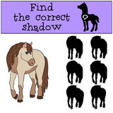 Children games: Find the correct shadow. Cute horse. Royalty Free Stock Image