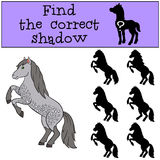 Children games: Find the correct shadow. Cute horse. Stock Photo