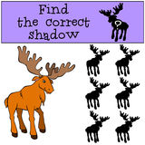 Children games: Find the correct shadow. Cute kind elk. Royalty Free Stock Photo