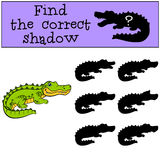 Children games: Find the correct shadow. Cute little alligator. Stock Photos