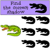 Children games: Find the correct shadow. Cute little alligator. Royalty Free Stock Image