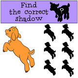Children games: Find the correct shadow. Cute little baby goat. Children games: Find the correct shadow. Cute little baby goat jumps and smiles Stock Images