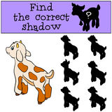 Children games: Find the correct shadow. Cute little baby goat. Children games: Find the correct shadow. Cute little baby goat stands and smiles Stock Images