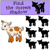 Children games: Find the correct shadow. Cute little baby goat. Stock Photography