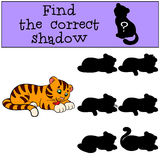 Children games: Find the correct shadow. Cute little baby tiger. Cleans himself and smiles Stock Image