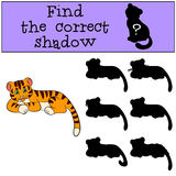 Children games: Find the correct shadow. Cute little baby tiger. Lays and smiles Royalty Free Stock Photo