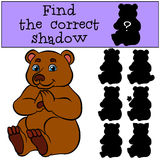 Children games: Find the correct shadow. Cute little bear. Children games: Find the correct shadow. Cute little bear sits and smiles Stock Images
