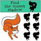 Children games: Find the correct shadow. Cute little squirre. Children games: Find the correct shadow. Cute little squirrel stands and smiles Royalty Free Stock Photo