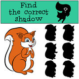 Children games: Find the correct shadow. Cute little squirre. Royalty Free Stock Photo