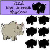 Children games: Find the correct shadow. Cute rhinoceros. Children games: Find the correct shadow. Cute rhinoceros smiles Stock Photo
