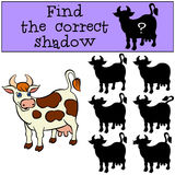Children games: Find the correct shadow. Cute spotted cow. Stock Image