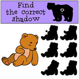 Children games: Find the correct shadow. Little cute baby bear. Stock Photos