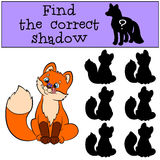 Children games: Find the correct shadow. Little cute baby fox looks at the fly. Stock Photo