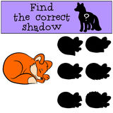 Children games: Find the correct shadow. Little cute baby fox. Royalty Free Stock Image