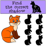 Children games: Find the correct shadow. Little cute baby fox smiles. Children games: Find the correct shadow. Little cute baby fox sits and smiles Stock Photography
