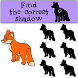 Children games: Find the correct shadow. Little cute baby fox smiles. Children games: Find the correct shadow. Little cute baby fox stands and smiles Royalty Free Stock Photos
