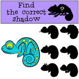 Children games: Find the correct shadow.. Little cute blue chameleon sleeps Stock Photos