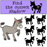 Children games: Find the correct shadow. Little cute donkey. Children games: Find the correct shadow. Little cute donkey stands and smiles Stock Photo