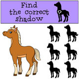 Children games: Find the correct shadow. Little cute foal. Royalty Free Stock Images