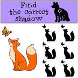 Children games: Find the correct shadow. Little cute fox looks at the butterfly. Children games: Find the correct shadow. Little cute fox looks at the butterfly Royalty Free Stock Images
