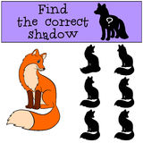 Children games: Find the correct shadow. Little cute fox smiles. Children games: Find the correct shadow. Little cute fox sits and smiles Stock Photo