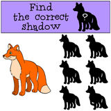 Children games: Find the correct shadow. Little cute fox smiles. Children games: Find the correct shadow. Little cute fox stands and smiles Royalty Free Stock Image