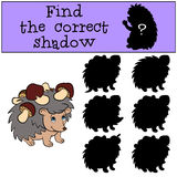 Children games: Find the correct shadow. Little cute hedgehog. Children games: Find the correct shadow. Little cute hedgehog has a lot of mushrooms in his Royalty Free Stock Photography