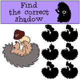 Children games: Find the correct shadow. Little cute hedgehog. Children games: Find the correct shadow. Little cute hedgehog lays and holds a mushroom in the Stock Photo